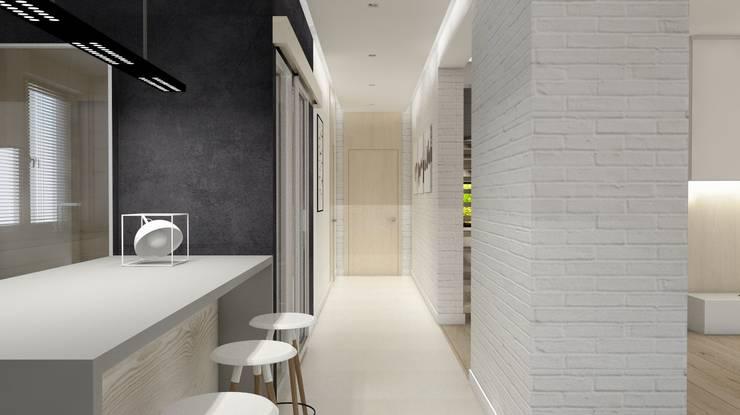 Projekt domu jednorodzinnego 3 (wykonany dla A2.Studio Pracownia Architektury): styl , w kategorii Korytarz, przedpokój zaprojektowany przez BAGUA Pracownia Architektury Wnętrz
