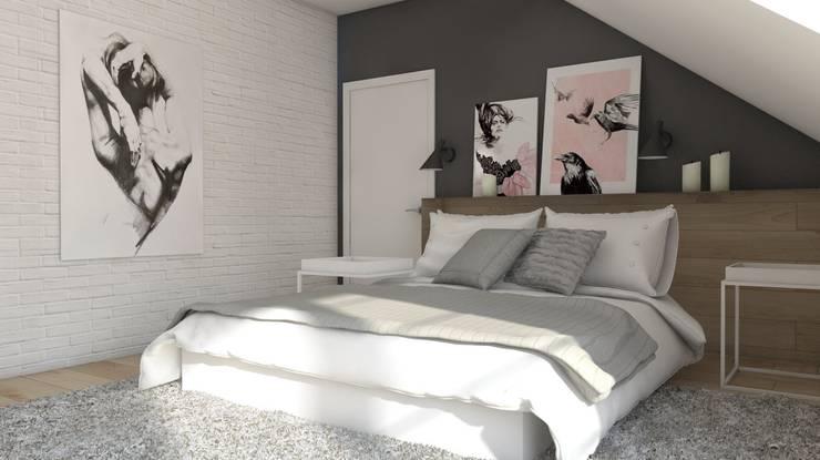 Projekt domu jednorodzinnego 3 (wykonany dla A2.Studio Pracownia Architektury): styl , w kategorii Sypialnia zaprojektowany przez BAGUA Pracownia Architektury Wnętrz