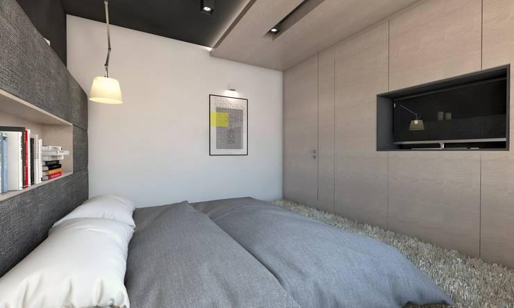 Projekt domu jednorodzinnego 5: styl , w kategorii Sypialnia zaprojektowany przez BAGUA Pracownia Architektury Wnętrz,Nowoczesny