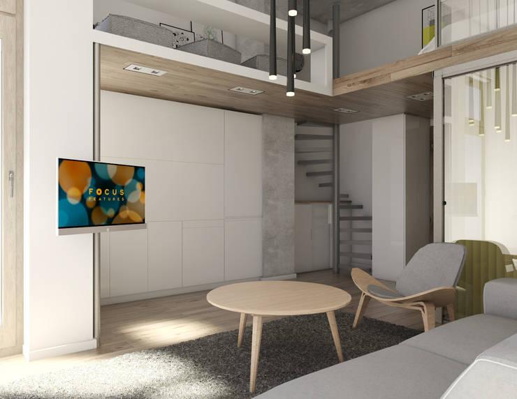 Mieszkania / Kawalerka 1: styl , w kategorii Salon zaprojektowany przez BAGUA Pracownia Architektury Wnętrz
