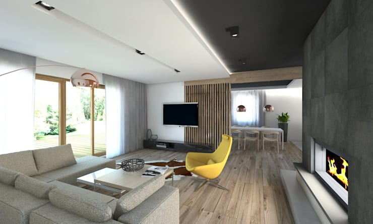 Projekt domu jednorodzinnego 5: styl , w kategorii Salon zaprojektowany przez BAGUA Pracownia Architektury Wnętrz,Nowoczesny