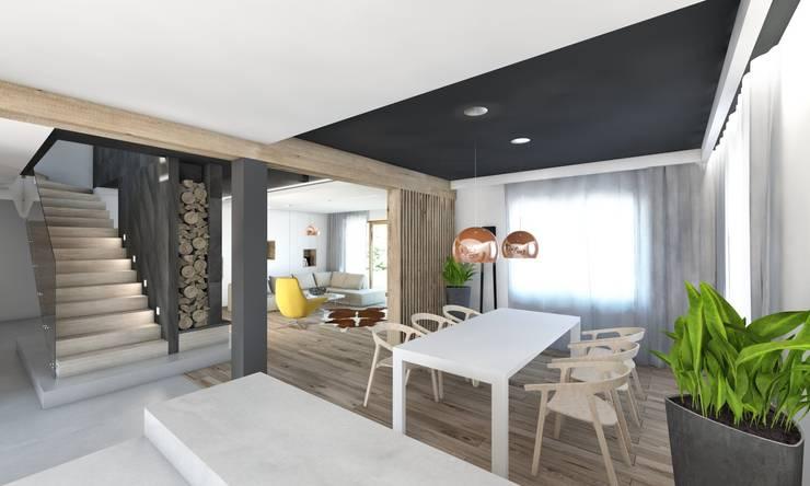 Projekt domu jednorodzinnego 5: styl , w kategorii Jadalnia zaprojektowany przez BAGUA Pracownia Architektury Wnętrz,Nowoczesny