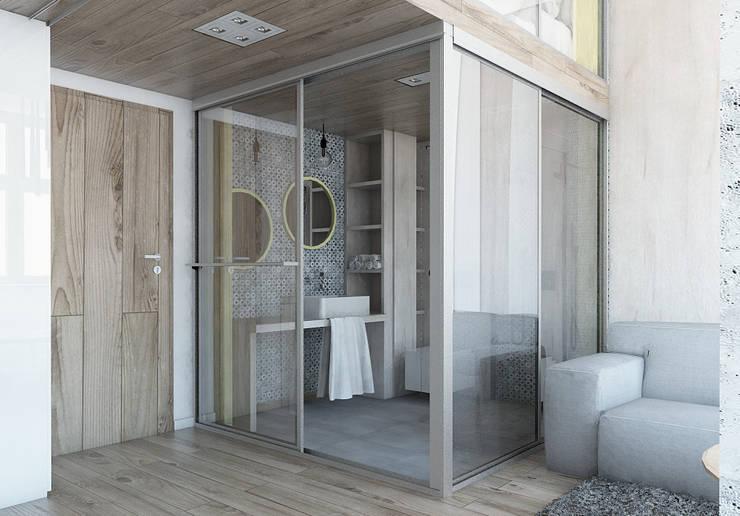 Mieszkania / Kawalerka 1: styl , w kategorii Łazienka zaprojektowany przez BAGUA Pracownia Architektury Wnętrz