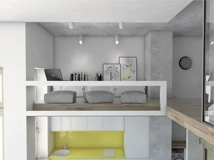 Mieszkania / Kawalerka 1: styl , w kategorii Domowe biuro i gabinet zaprojektowany przez BAGUA Pracownia Architektury Wnętrz