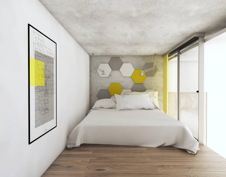 Mieszkania / Kawalerka 1: styl , w kategorii Sypialnia zaprojektowany przez BAGUA Pracownia Architektury Wnętrz