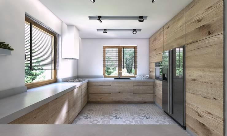 Projekt domu jednorodzinnego 5: styl , w kategorii Kuchnia zaprojektowany przez BAGUA Pracownia Architektury Wnętrz,Nowoczesny