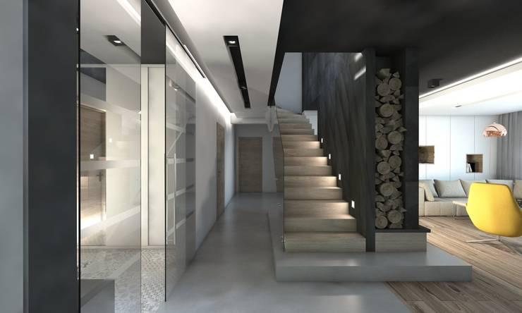 Projekt domu jednorodzinnego 5: styl , w kategorii Korytarz, przedpokój zaprojektowany przez BAGUA Pracownia Architektury Wnętrz,Nowoczesny