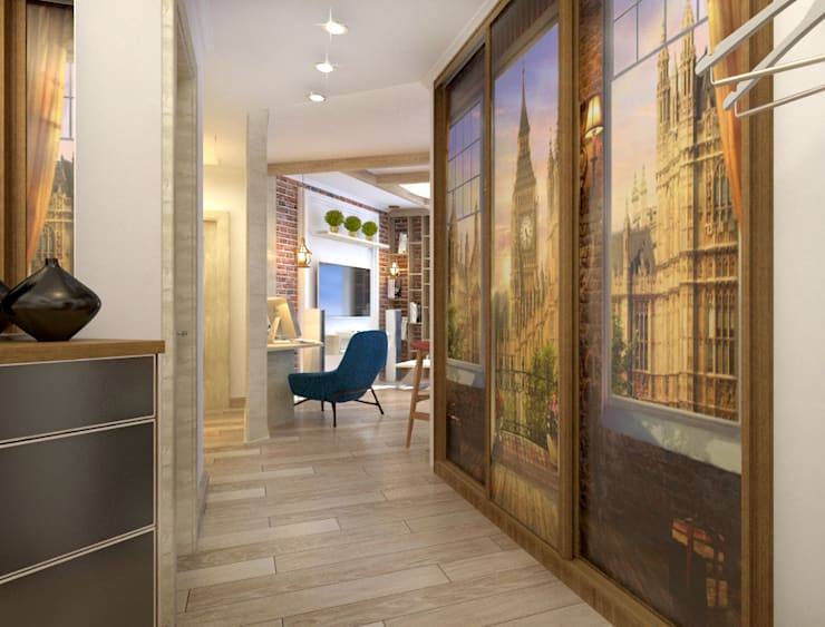 Уютный лофт в Москве: Коридор и прихожая в . Автор – Студия Ксении Седой