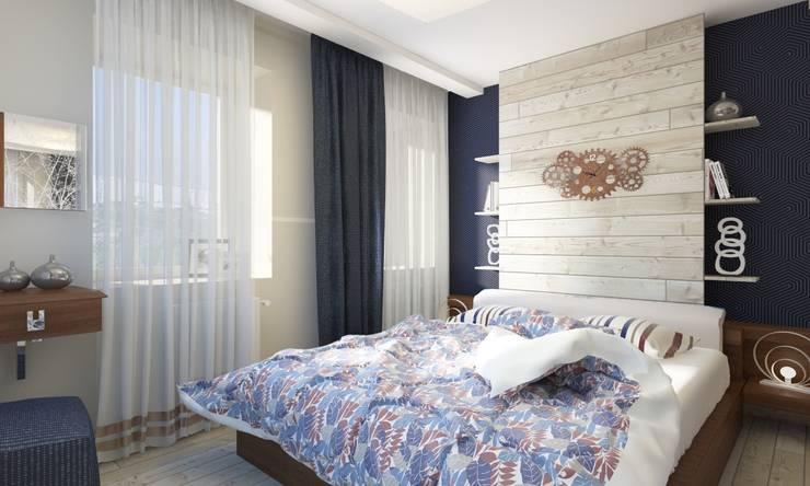 Уютный лофт в Москве: Спальни в . Автор – Студия Ксении Седой