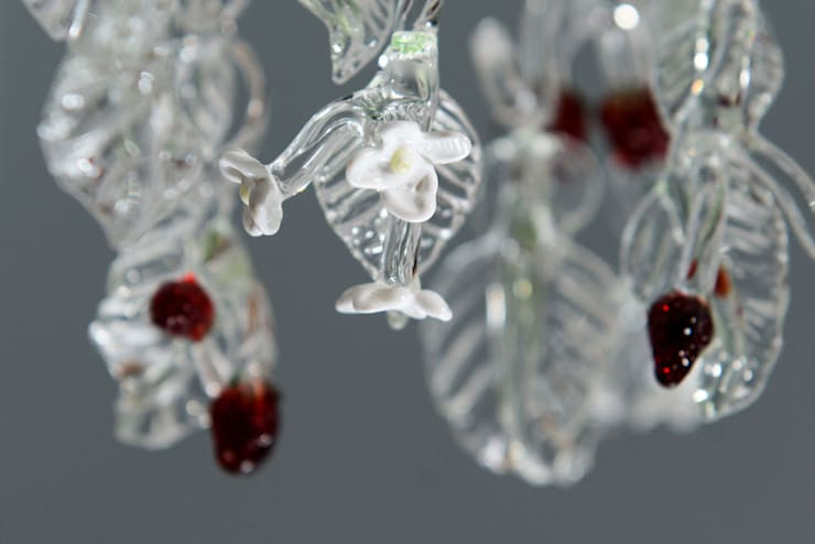 Glass chandelier with strawberries :  Corridor, hallway & stairs by A Flame with Desire