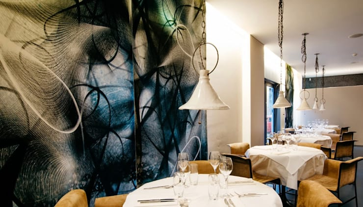 restaurant Florent ,fabric panels, Utrecht:  Bars & clubs door Workingbert