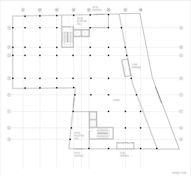 GOOA|GLOBAL OFFICE OF ARCHITECTURE  – Zemin Kat Planı:  tarz Ofisler ve Mağazalar