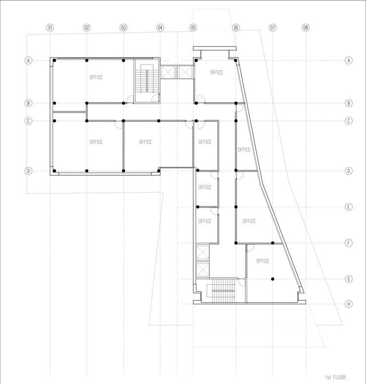 GOOA|GLOBAL OFFICE OF ARCHITECTURE  – 1.Kat Planı:  tarz Ofis Alanları