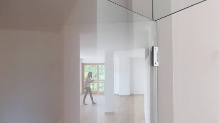La porta di separazione tra lo spazio di ingresso ed il grande salone : Finestre in stile  di Team Replan - Bortoluzzi Associati