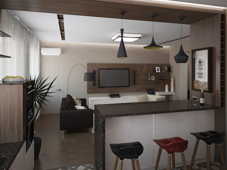 Кухня-гостиная: Гостиная в . Автор – Olesya Parkhomenko
