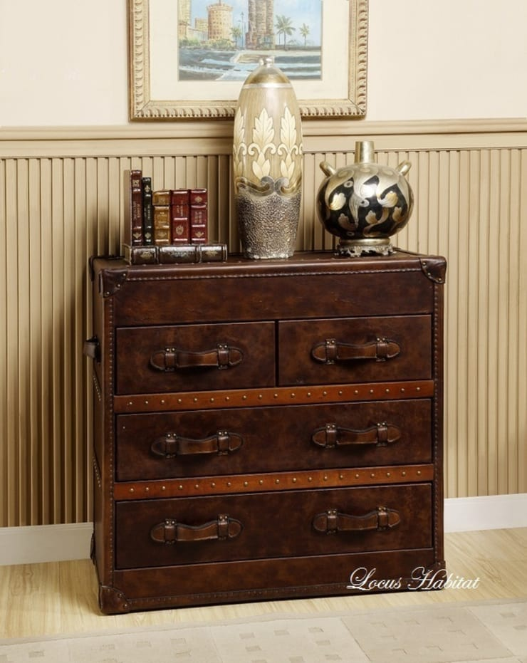 Vintage Leather Storage Cabinet:  Living room by Locus Habitat