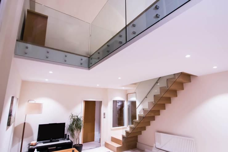 Modern ZigZag Staircase :  Corridor, hallway & stairs by Railing London Ltd