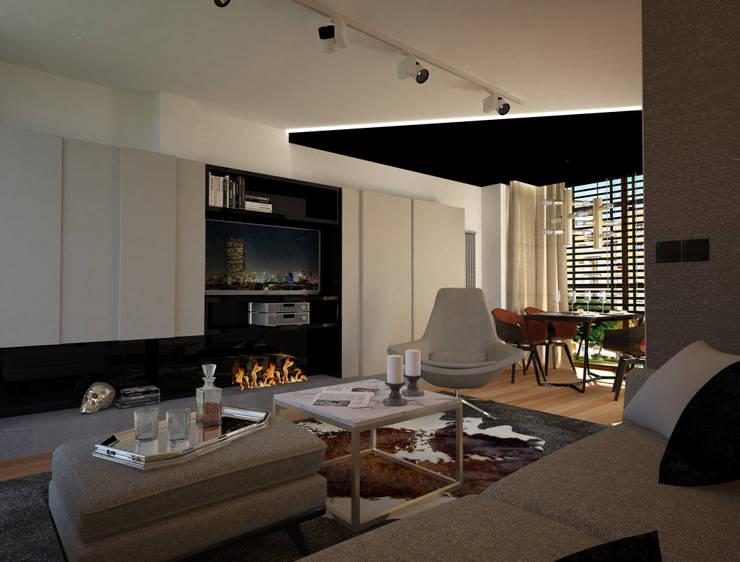 salón: Salones de estilo moderno de Disak Studio