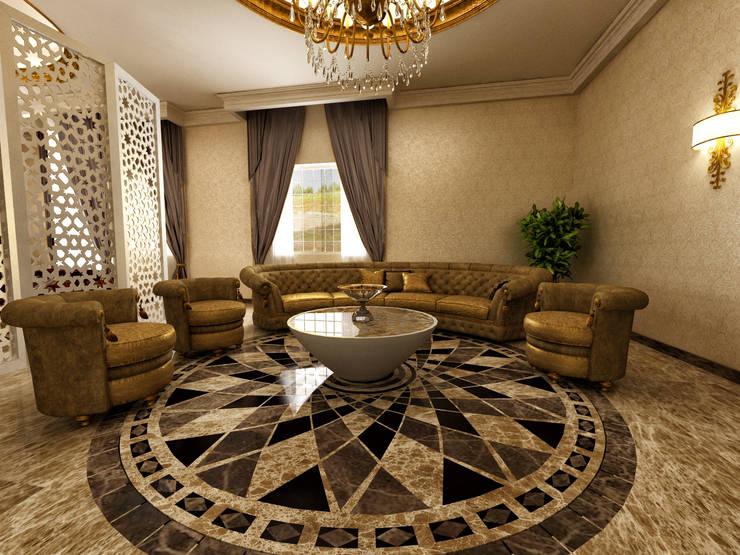 m. rezan özge özdemir – Villa iç tasarımı-karşılama odası:  tarz Oturma Odası