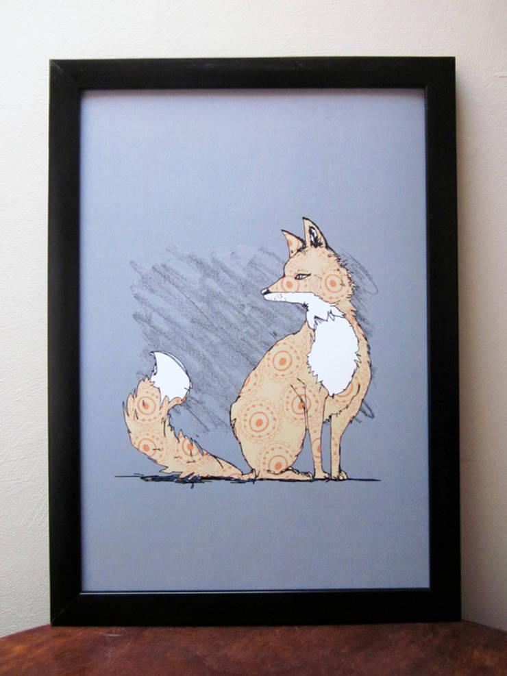 Urban Fox Signed Print:  Living room by martha and hepsie ltd