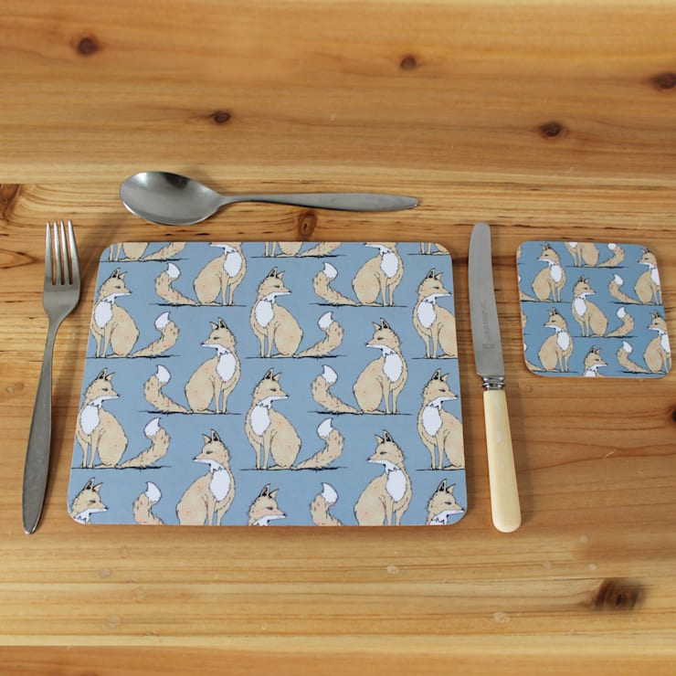 Urban Fox Placemats & Coasters:  Dining room by martha and hepsie ltd