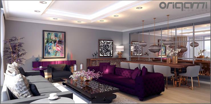 Origami Mobilya – Koru Florya Salon Tasarımı:  tarz Oturma Odası