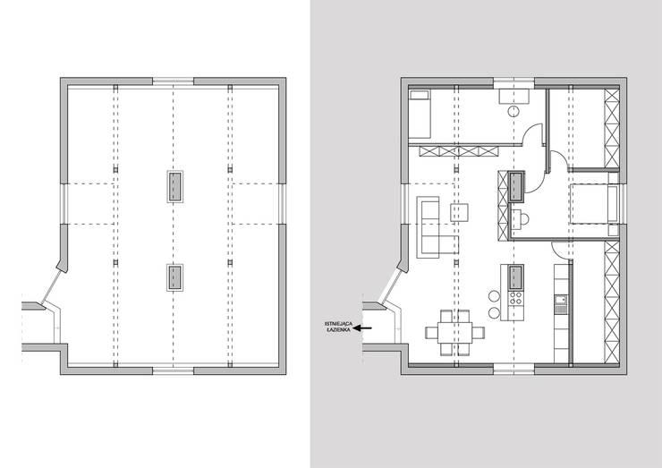 Mieszkanie na poddaszu: styl , w kategorii  zaprojektowany przez creo:line Pracownia Architektury Karolina Czech