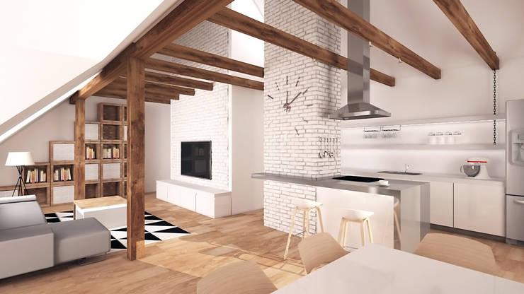 Mieszkanie na poddaszu: styl , w kategorii Salon zaprojektowany przez creo:line Pracownia Architektury Karolina Czech