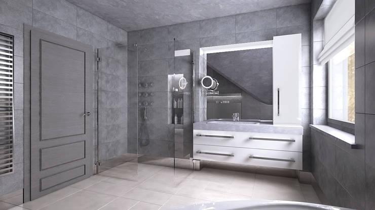 Elegancka, szara łazienka: styl , w kategorii Łazienka zaprojektowany przez creo:line Pracownia Architektury Karolina Czech
