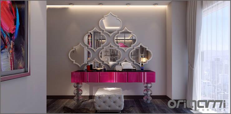 Origami Mobilya – Yatak Odası Tasarımı: eklektik tarz tarz Yatak Odası
