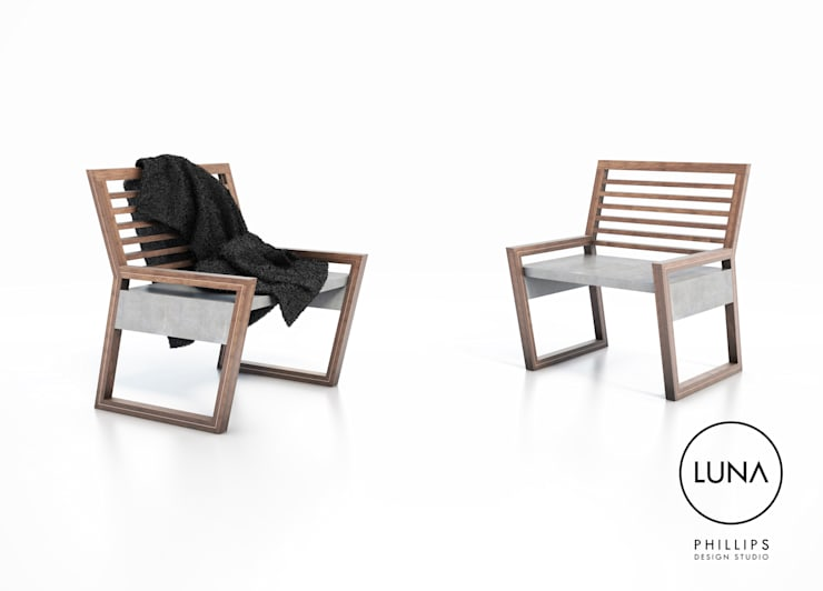 LUNA Armchairs:  Living room by Phillips Design Studio