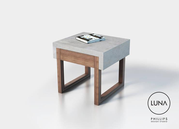 LUNA Side Table:  Bedroom by Phillips Design Studio