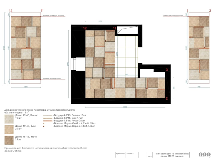 Дизайнерское панно из керамогранита: Ванная комната в . Автор – e.v.a.project architecture & design