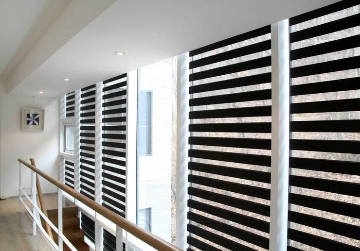 Armoni Perde Tasarım – Modern ve Sade Zebra Perde Modelleri:  tarz Koridor ve Hol