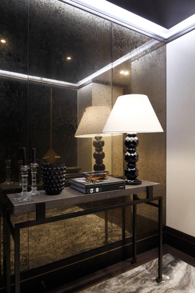 Antique Bronze Mirror:  Corridor & hallway by Alguacil & Perkoff Ltd.