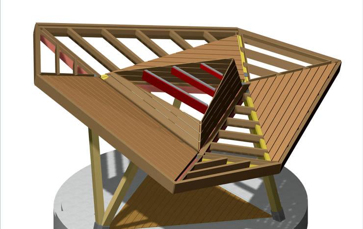 Stadshoutpaviljoen Amstelpark, constructie:  Exhibitieruimten door Florian Eckardt - architectinamsterdam