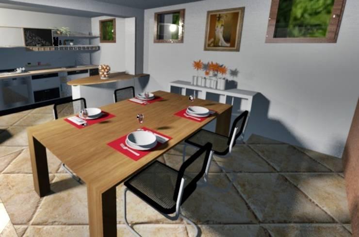 Relooking in villa: Sala da pranzo in stile  di Kamaleontika