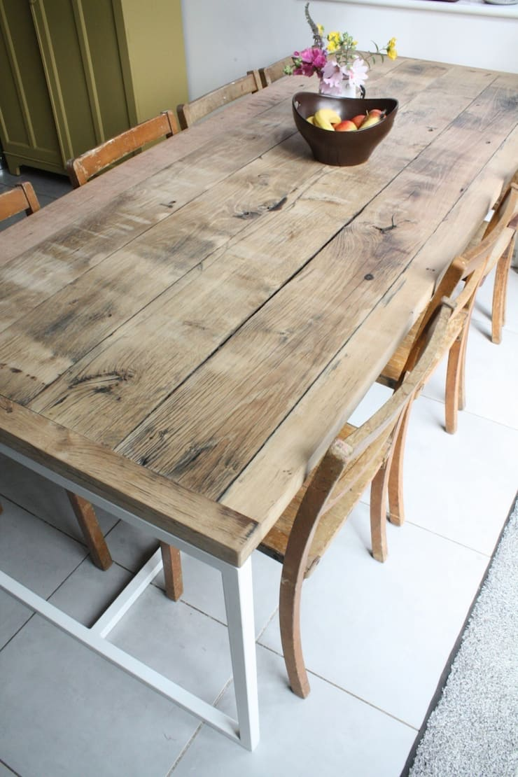 Deben Dining table in reclaimed French oak:  Dining room by Salvation Furniture