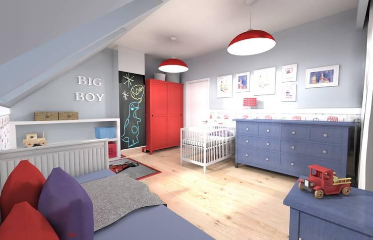 Projekt pokoju dla chłopca: styl , w kategorii Pokój dziecięcy zaprojektowany przez Orange Studio