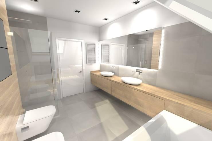 Projekt łazienki ogólnodostępnej na poddaszu: styl , w kategorii Łazienka zaprojektowany przez Orange Studio,
