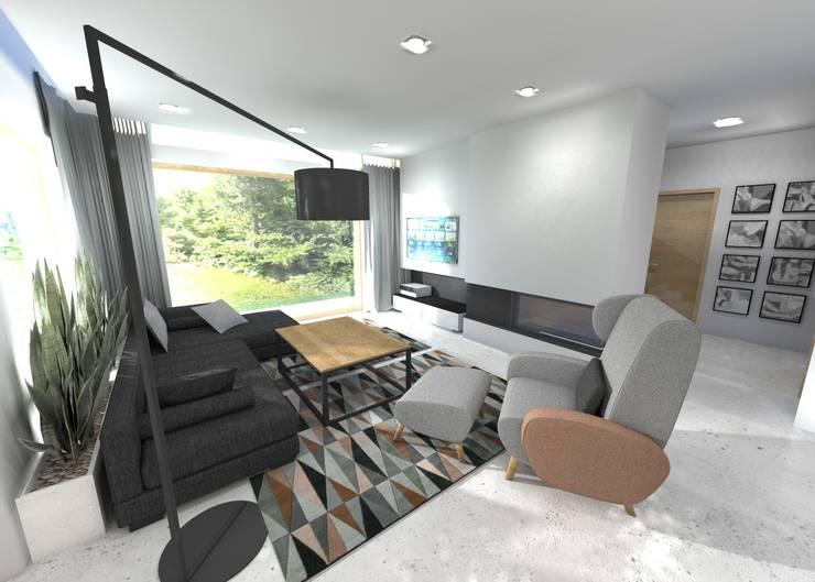 Projekt salonu z kominkiem: styl , w kategorii Salon zaprojektowany przez Orange Studio,