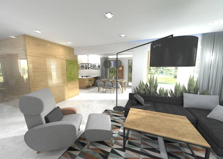 Projekt salonu: styl , w kategorii Salon zaprojektowany przez Orange Studio,