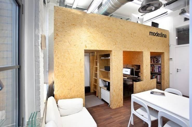 Ekologiczne Biuro Modelina : styl , w kategorii Przestrzenie biurowe i magazynowe zaprojektowany przez Milena.Ostólska