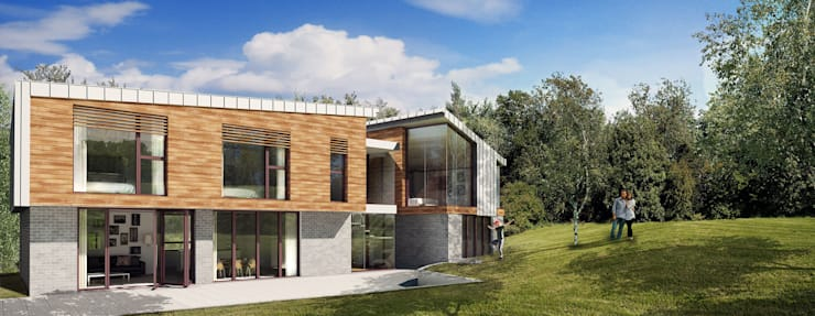 Rear elevation facing the South Downs:   by Mohsin Cooper Architects