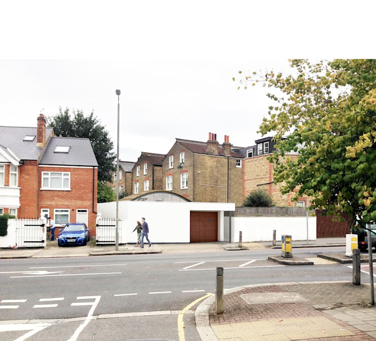 View from street of proposed basement dwelling.:   by Mohsin Cooper Architects