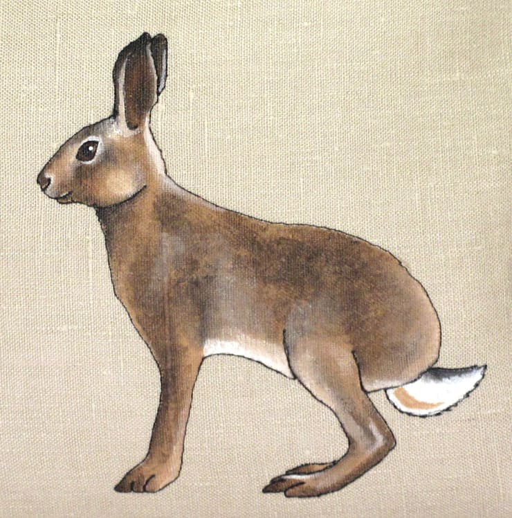 Hand Painted and Embroidered Hare Cushion:  Living room by Lottie's Cottage
