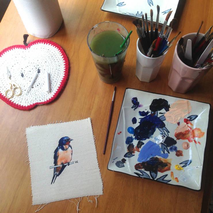 Swallow painting in progress:  Artwork by Lottie's Cottage