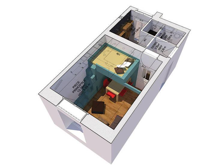 AXONOMETRIE: Salon de style  par Pierre Georges Architecte