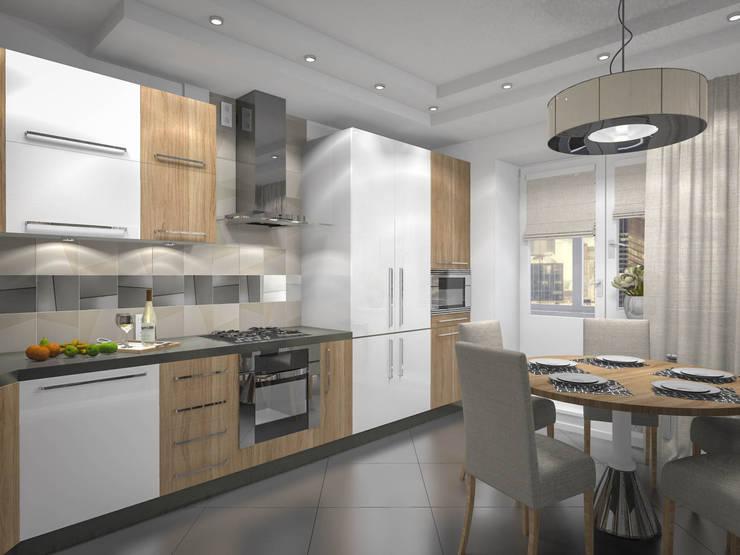 Кухня и входная зона квартиры: Кухни в . Автор – RENDER
