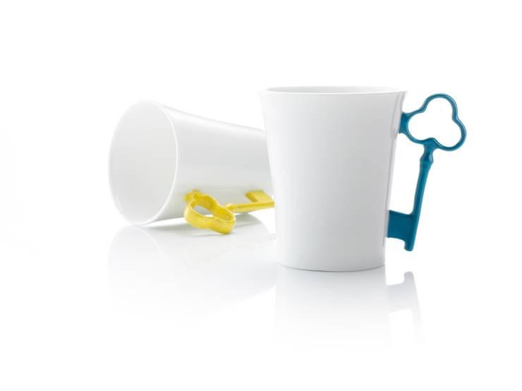 Blue & Yellow Key Handle Mugs:  Kitchen by Gary Birks